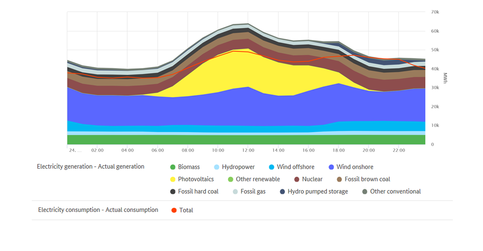 Highest renewable output and electricity consupmtion on 24 May 2020